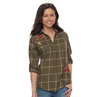 Petite SONOMA Goods for Life™ Embroidered Plaid Shirt