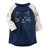 Toddler Girl OshKosh B'gosh® Kitty Cat Raglan Glitter Graphic Tunic Top