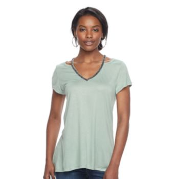 Women's Juicy Couture Solid Embellished Cutout Tee