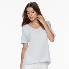 Petite Apt. 9® Mixed-Media V-Neck Top