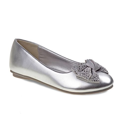 Laura Ashley Girls' Rhinestone Bow Ballet Flats