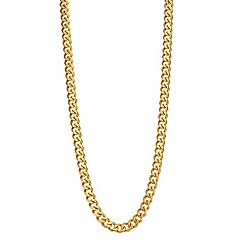 Men's Gold Tone Stainless Steel Curb Chain Necklace