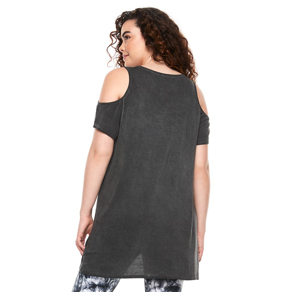 madden NYC Juniors' Plus Size Cold Shoulder Swing Tee