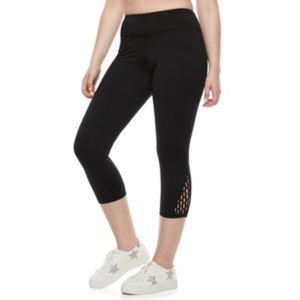 madden NYC Juniors' Plus Size Macrame Inset Capri Leggings