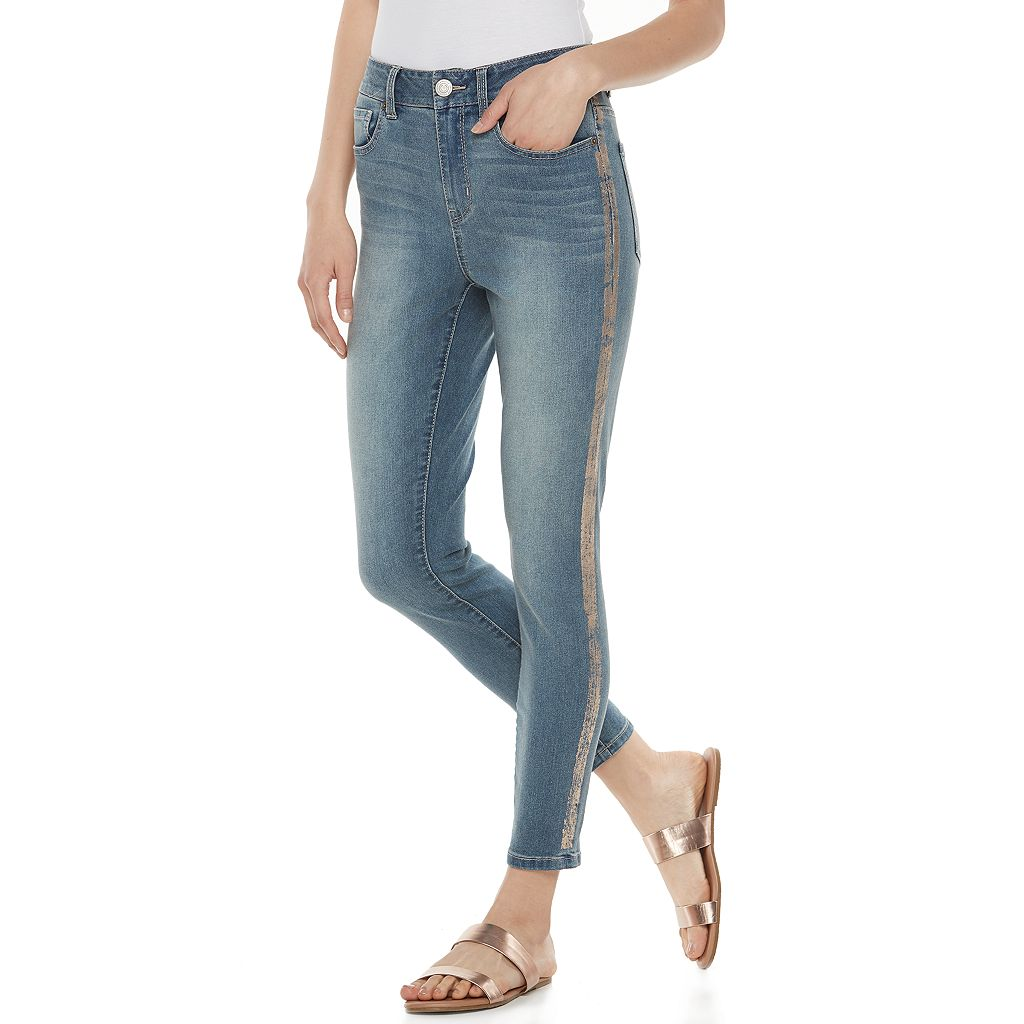 Juniors' SO® High Waist Shine Inset Ankle Jeggings