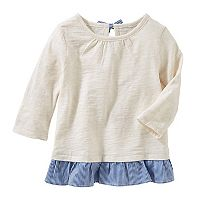 Toddler Girl OshKosh B'gosh® Cream Slubbed Ruffle Peplum Top