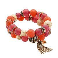 Dana Buchman Pink Beaded Tassel Double Strand Stretch Bracelet