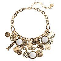 Dana Buchman Fish, Tassel & Basket Weave Charm Statement Necklace