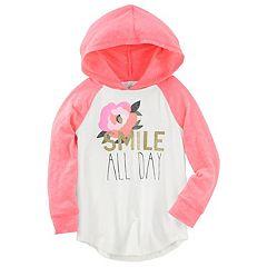 Toddler Girl OshKosh B'gosh® 'Smile All Day' Hooded Raglan Tee