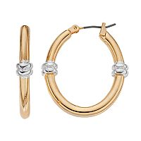 Dana Buchman Two Tone Banded Hoop Earrings