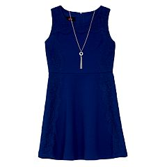 Girls 7-16 IZ Amy Byer Solid Texture Knit Lace Dress with Necklace