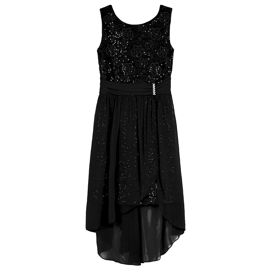 Girls 7-16 IZ Amy Byer Sequin Lace High-Low Sheath Dress