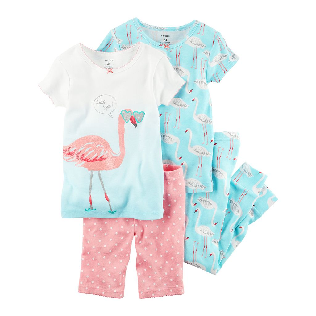 Baby Girl Carter's 4-pc. Graphic & Print Tee, Shorts & Pants Pajamas Set