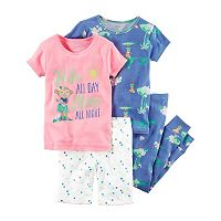 Toddler Girl Carter's 4-pc. Graphic & Print Tee, Shorts & Pants Pajamas Set