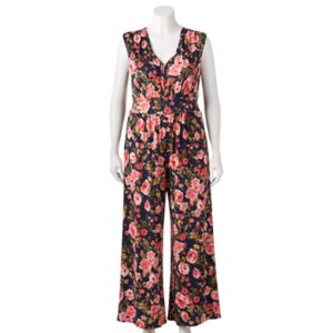 Juniors' Plus Size Wrapper Wide Leg Floral Print Jumpsuit