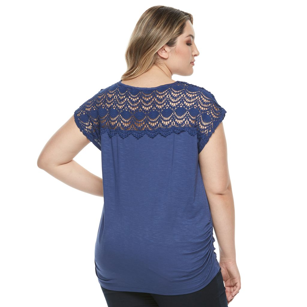 Plus Size Design 365 Lace Ruched Top