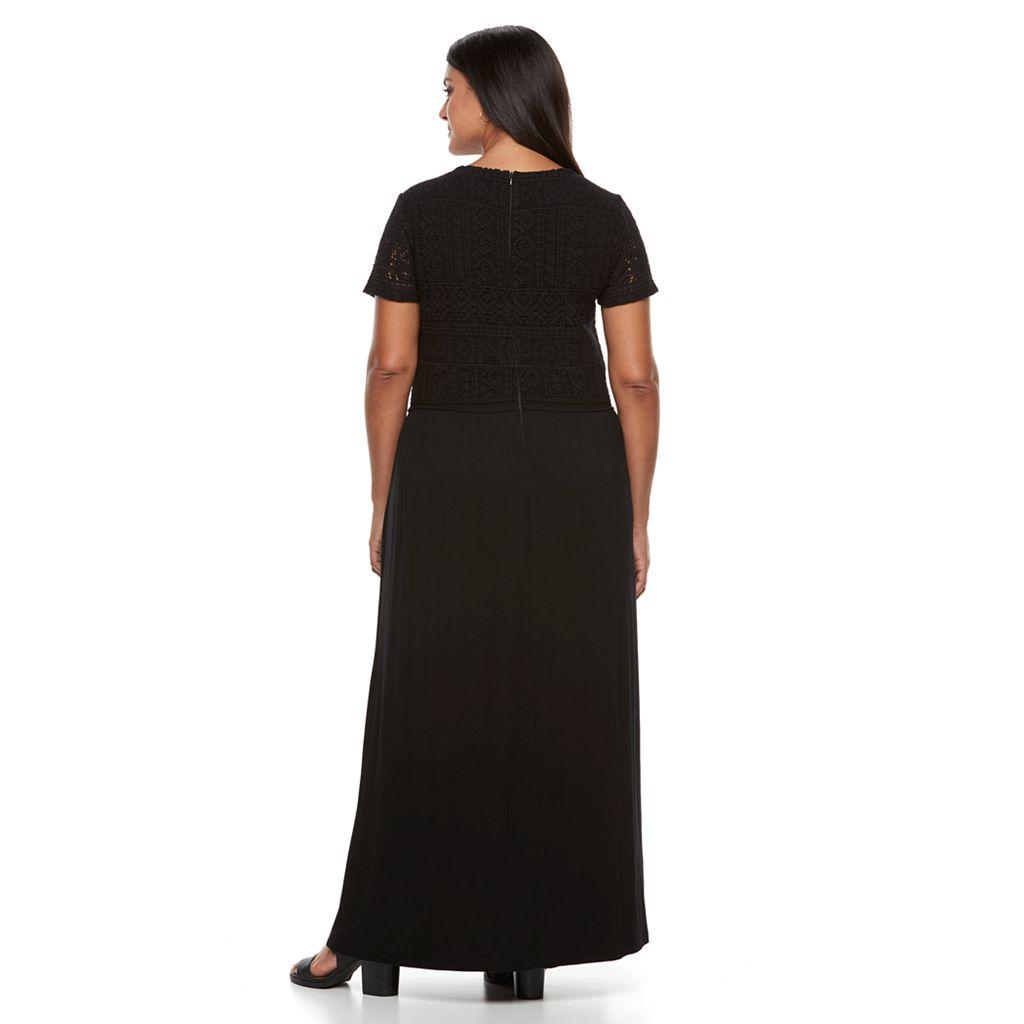 Plus Size Design 365 Crochet Maxi Dress