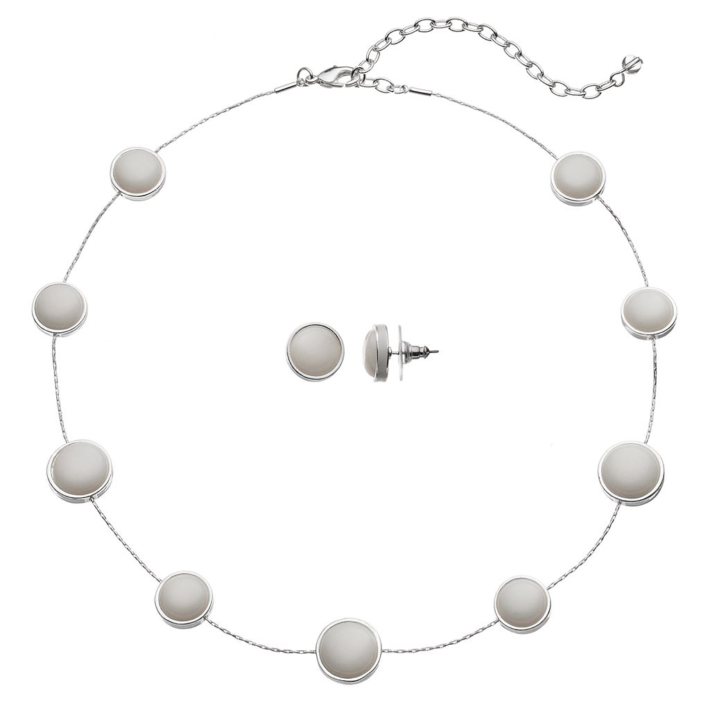 Napier Circle Station Necklace & Stud Earring Set