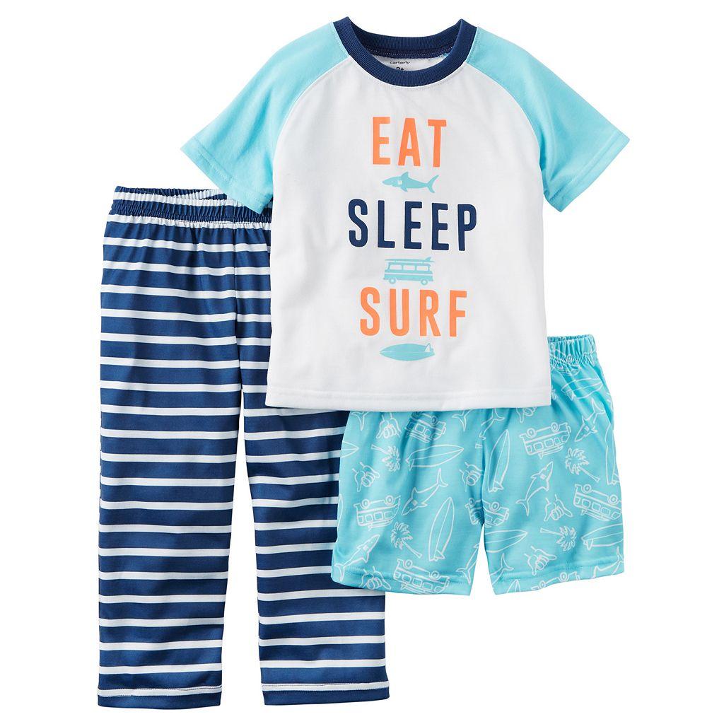 Baby Boy Carter's Graphic Tee, Print Shorts & Striped Pants Pajama Set
