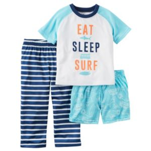 Baby Boy Carter's Graphic Tee, Print Shorts & Striped Pants Pajama Set