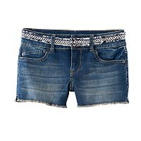 Girls 7-16 Mudd® Belted Shortie Jean Shorts