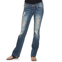 Juniors' Hydraulic Bailey Fleur De Lis Ripped Bootcut Jeans