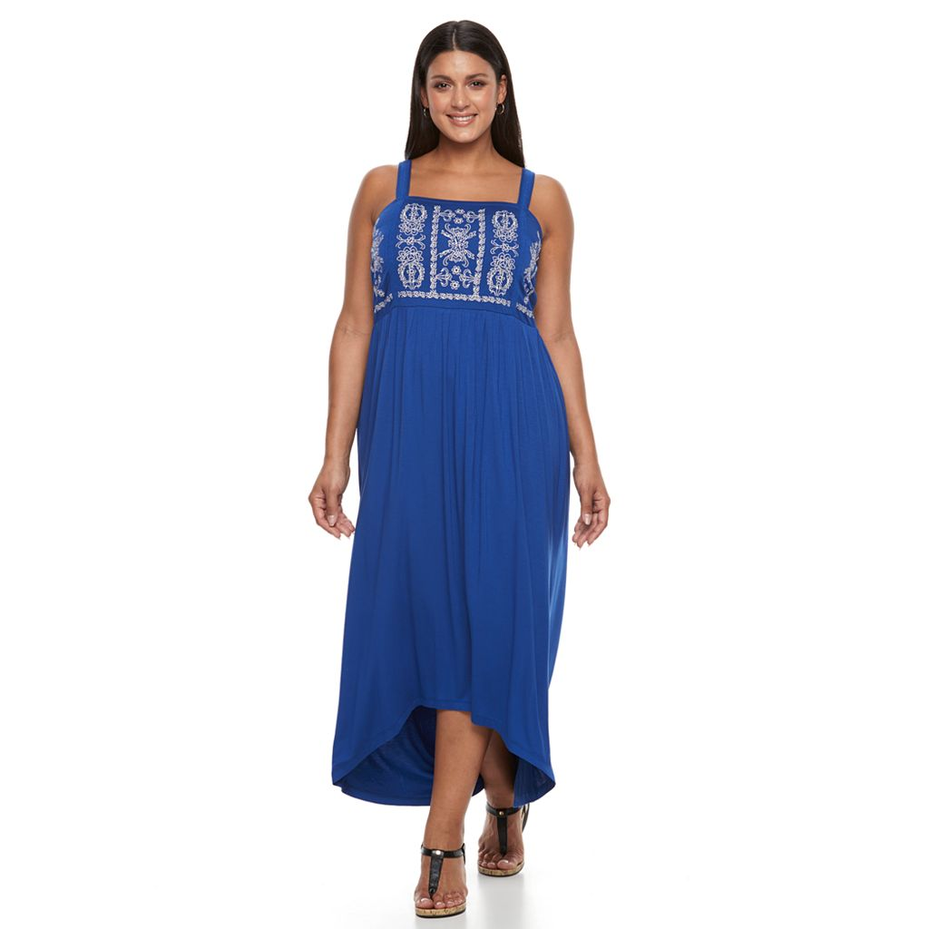 Plus Size Design 365 Embroidered High-Low Dress