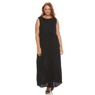 Plus Size Design 365 Embroidered Maxi Dress