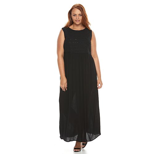 Plus Size Design 365 Embroidered Maxi Dress