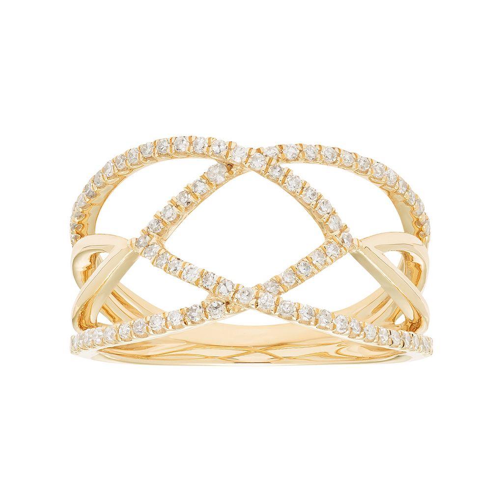 10k Gold 1/3 Carat T.W. Diamond Openwork Ring