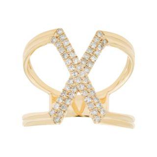 10k Gold 1/3 Carat T.W. Diamond X Ring