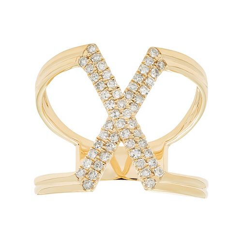 10k Gold 1/3 Carat T.W. Diamond X Ring