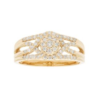10k Gold 3/8 Carat T.W. Diamond Cluster Multi Row Engagement Ring
