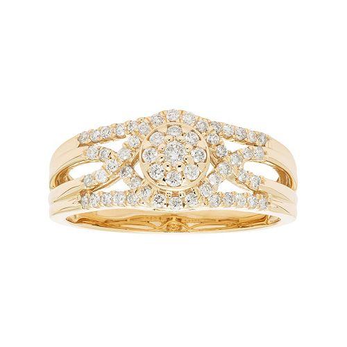 10k Gold 3/8 Carat T.W. Diamond Cluster Multi Row Engagement Ring