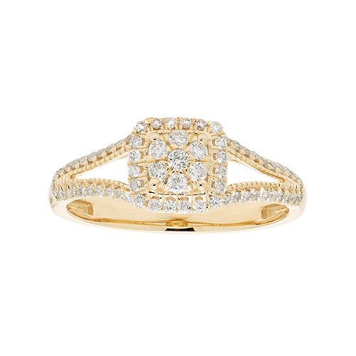 10k Gold 3/8 Carat T.W. Diamond Cluster Square Halo Engagement Ring