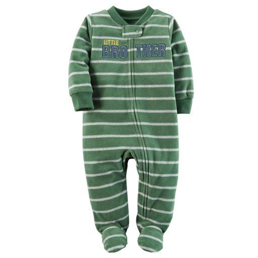 "Baby Boy Carter's ""Little Brother"" Striped Microfleece Sleep & Play"