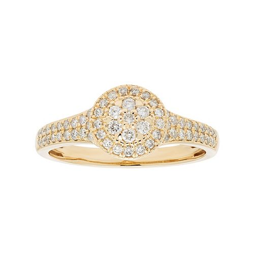 10k Gold 3/8 Carat T.W. Diamond Cluster Halo Engagement Ring