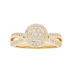 10k Gold 3/8 Carat T.W. Diamond Cluster Halo Engagement Ring