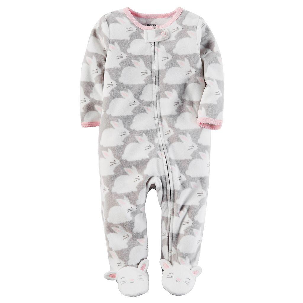 Baby Girl Carter's Bunny Microfleece Sleep & Play