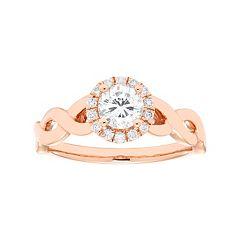 14k Gold 5/8 Carat T.W. IGL Certified Diamond Halo Engagement Ring