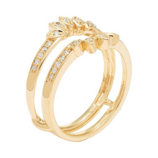 14k Gold 1/5 Carat T.W. Diamond Marquise Enhancer Wedding Ring