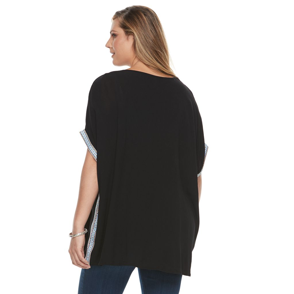Plus Size Design 365 Ribbon-Trim Poncho Top