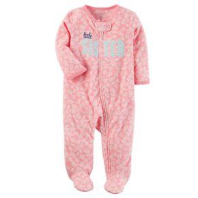 "Baby Girl Carter's ""Little Sister"" Floral Microfleece Sleep & Play"