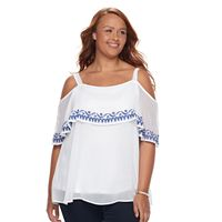 Plus Size Design 365 Embroidered Cold-Shoulder Top