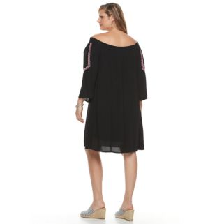 Plus Size Design 365 Embroidered Off-the-Shoulder Dress