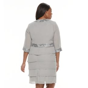 Plus Size Le Bos Tiered Georgette Evening Dress & Jacket Set
