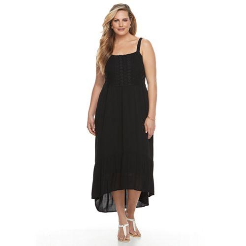 Plus Size Design 365 Crochet High-Low Dress