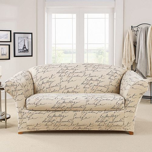 Sure Fit 2 Piece Waverly Stretch Pen Pal Loveseat Slipcover
