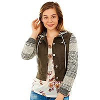Juniors' Wallflower Marled Sleeve Utility Jacket
