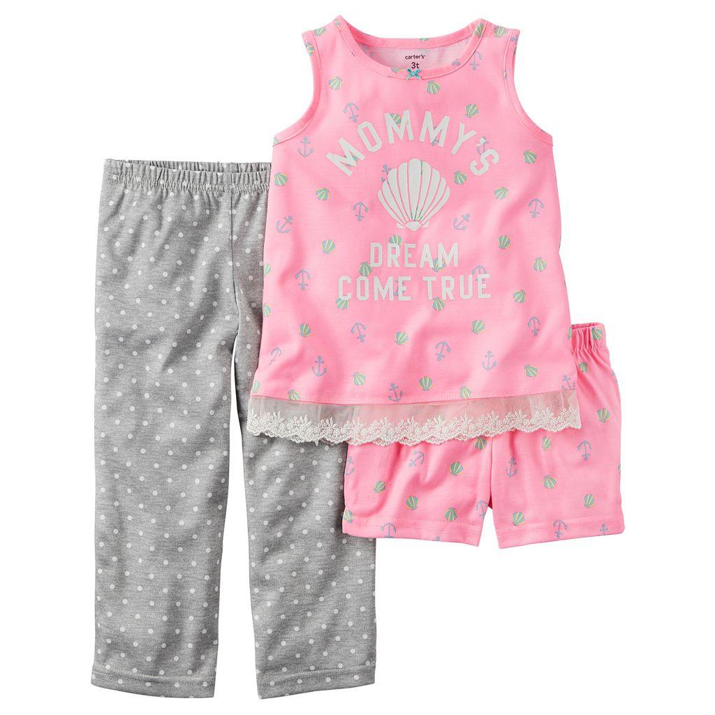 Baby Girl Carter's Graphic Tank Top, Printed Shorts & Polka-Dot Pants Pajama Set